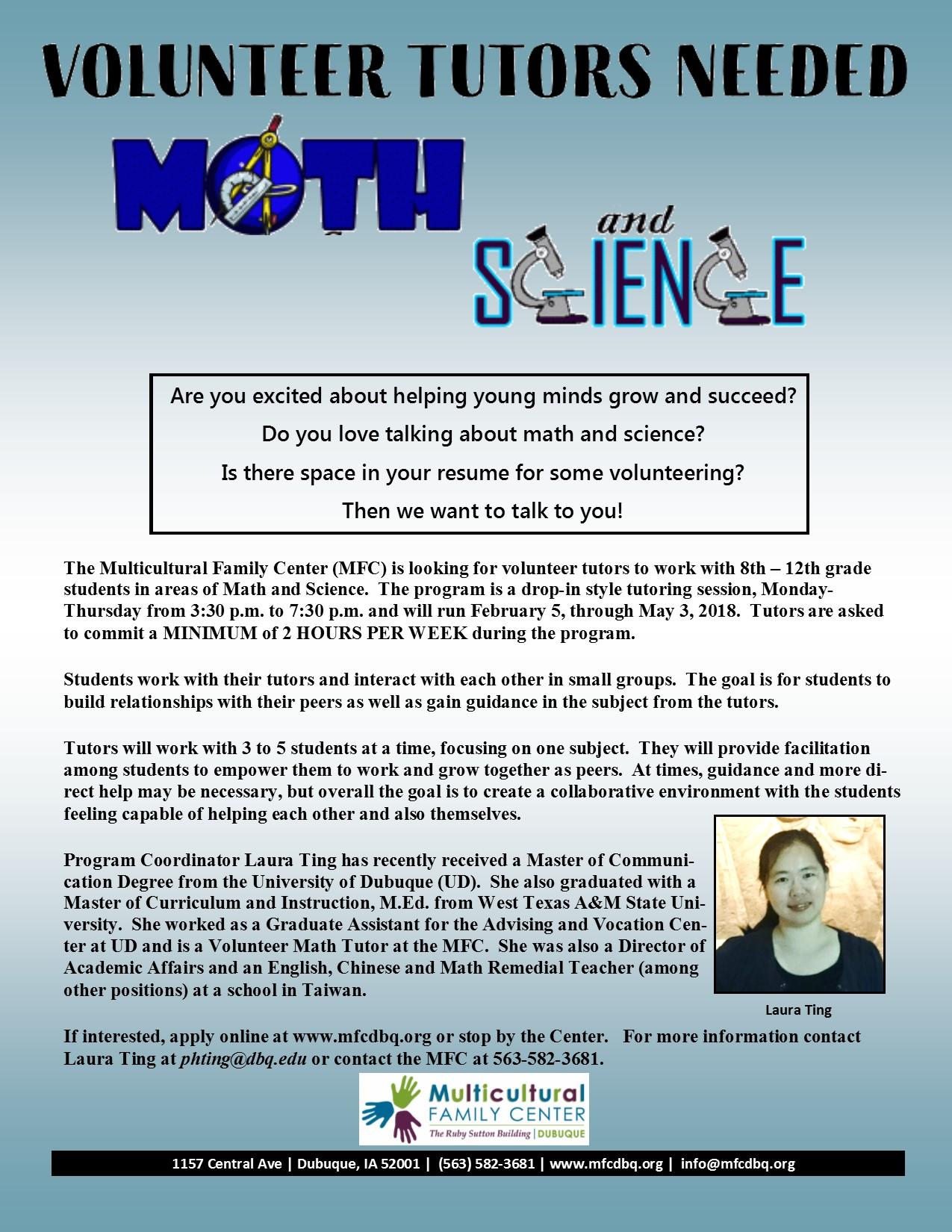 Volunteer Math & Science Tutors | Multicultural Family Center